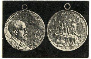 Fig. 3: Targeta postal que reprodueix l'anvers i el revers de la medalla a Ferrer. © Ministerio de Cultura. Archivo General de la Administración, caja F/03254, sobre 27